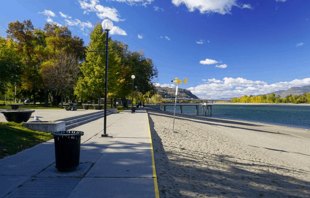 A picture of Riverside Park with golden fall trees.